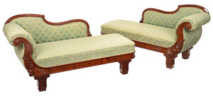 Fine Pair of Boston Classical Mahogany Recamiers