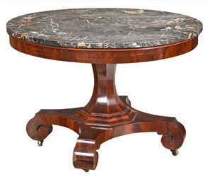 American Classical Mahogany Marble Top Center Table