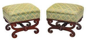 Fine Pair Boston Classical Curule Form Stools
