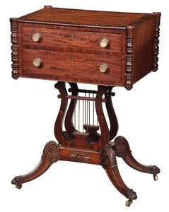 Fine Classical Figured Mahogany Lyre Base Table