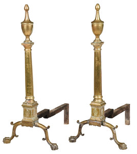 Fine Large Pair Engraved Brass Federal Andirons