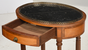 Rare Mahogany and Satinwood Marble Top Side Table