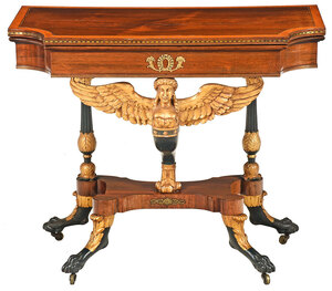 Fine Classical Gilt, Vert Antique, and Rosewood Caryatid Table