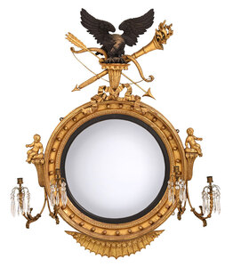 Very Fine Gilt and Ebonized Girandole Mirror