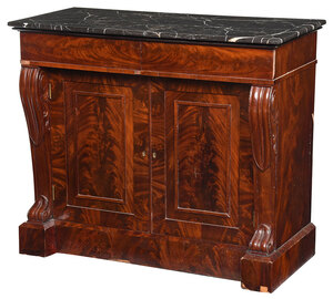 Fine Classical Figured Mahogany Marble Top Cabinet
