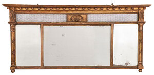 Fine Giltwood and Eglomise Over Mantel Mirror
