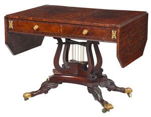 Fine Rare Classical Lyre Form Sofa Table