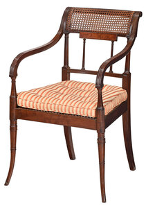 Sheraton Carved Mahogany and Caned Open Armchair