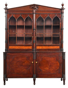 Impressive Flame Birch Inlaid Bookcase Cabinet
