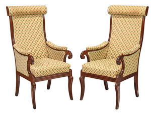 Fine Pair Boston Classical Mahogany Armchairs