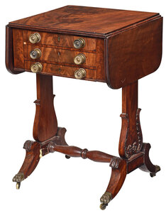 Rare Signed Boston Classical Sewing Table
