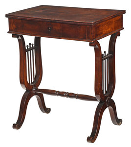 Classical Mahogany Lyre Decorated Writing Table