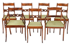 Set of Six Classical Swan Carved Dining Chairs