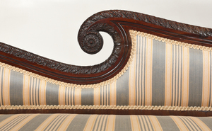 Very Fine Pair Classical Carved Mahogany Recamiers