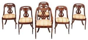 Set of Six Classical Figured Mahogany Chairs