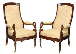 Pair Classical Style Swan Carved Armchairs