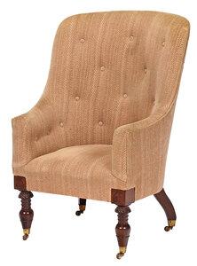 Classical Carved Mahogany Barrel Back Tub Chair