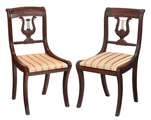 Two Similar Eagle and Lyre Carved Side Chairs