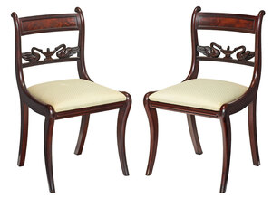 Rare Pair Classical Swan Carved Side Chairs