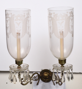 Suite of Four Brass and Etched Glass Wall Lights
