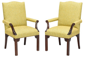 Pair Chippendale Style Upholstered Library Chairs