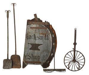 Partial Blacksmith Sign and Four Iron Tools