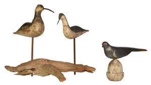 Three Carved and Painted Folk Art Birds