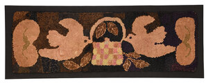 Fine Hooked Rug with Pair of Doves