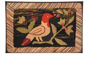 Folk Art Hooked Rug of Perched Bird