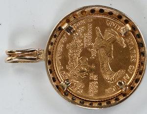 Gold Coin Diamond Pendant