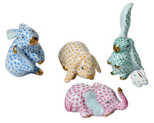 Five Herend Rabbit and Elephant Animal Figures
