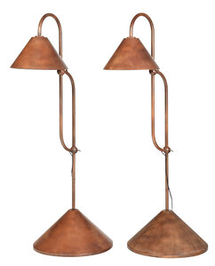 Pair of Copper Finished Adjustable Floor Lamps