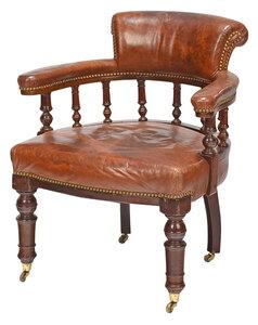 Regency Style Upholstered Mahogany Armchair