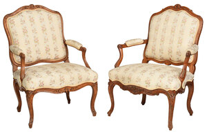 Pair Provincial Louis XV Beechwood Armchairs