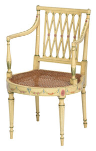 Sheraton Paint Decorated and Caned Armchair