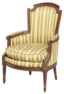 Louis XVI Carved Beechwood Upholstered Bergere