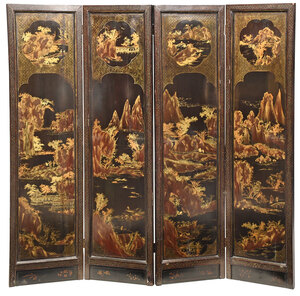 Chinese Export Lacquered Four Panel Room Screen