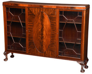 Chippendale Style Mahogany Bookcase Cabinet
