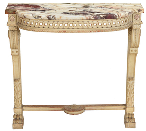 Neoclassical Style Marble Top Pier Table