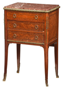Louis XV Style Inlaid Marble Top Bedside Cabinet