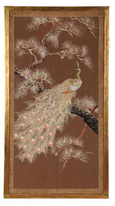 Large Japanese Silk Peacock Embroidery