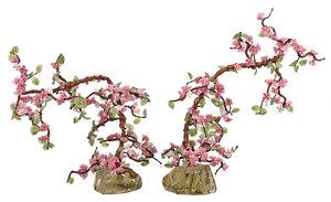 Pair Glass Cherry Blossom Trees