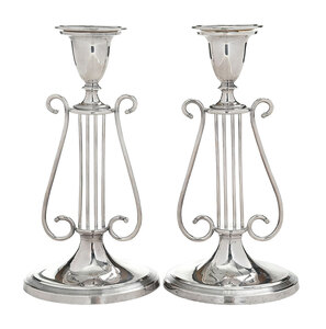 Lyre Form Silver Plate Candlesticks