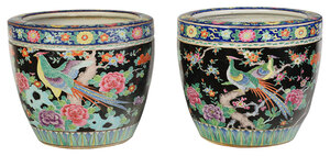 Pair of Chinese Famille Noir Porcelain Planters