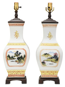 Near Pair of Chinese Vases Converted to Lamps
