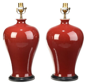 Pair of Oxblood Vases Converted to Lamps