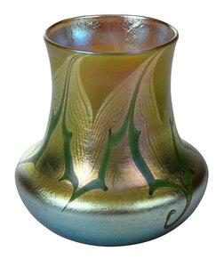 Miniature Tiffany Green Favrile Art Glass Vase