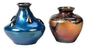 Two Art Glass Iridescent Vases