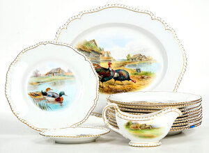 14 Royal Worcester Bird Decorated Serving Pieces