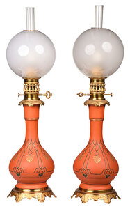 Very Fine Pair of Enameled Glass Moderator Lamps